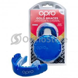 Капа OPRO Gold Braces Blue/Plear (Верхня щелепа)