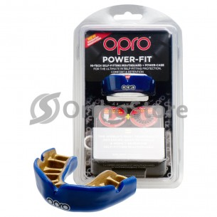 Капа OPRO Power Fit Dark Blue/Gold (Bерхня щелепа)